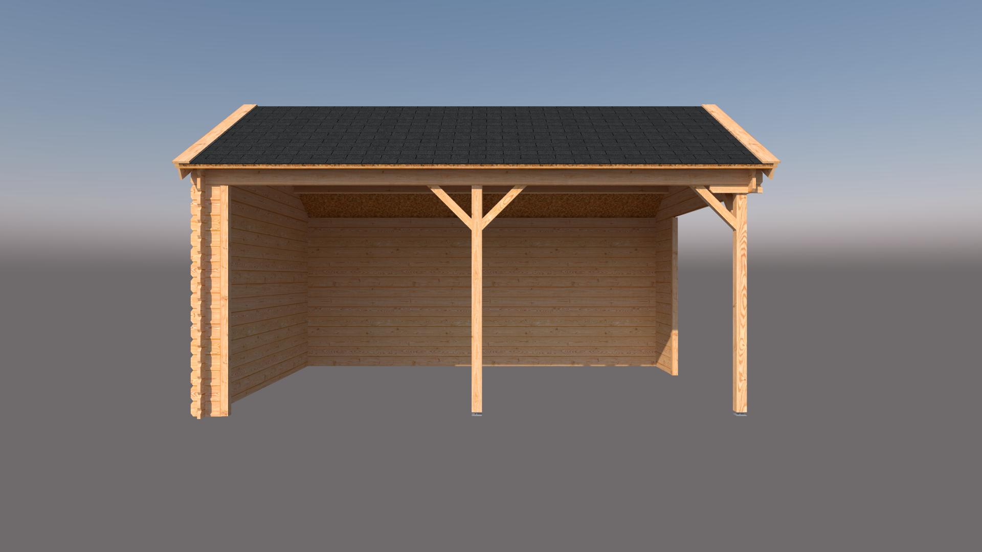 DWF Houten overkapping Kapschuur dak 500 x 350cm