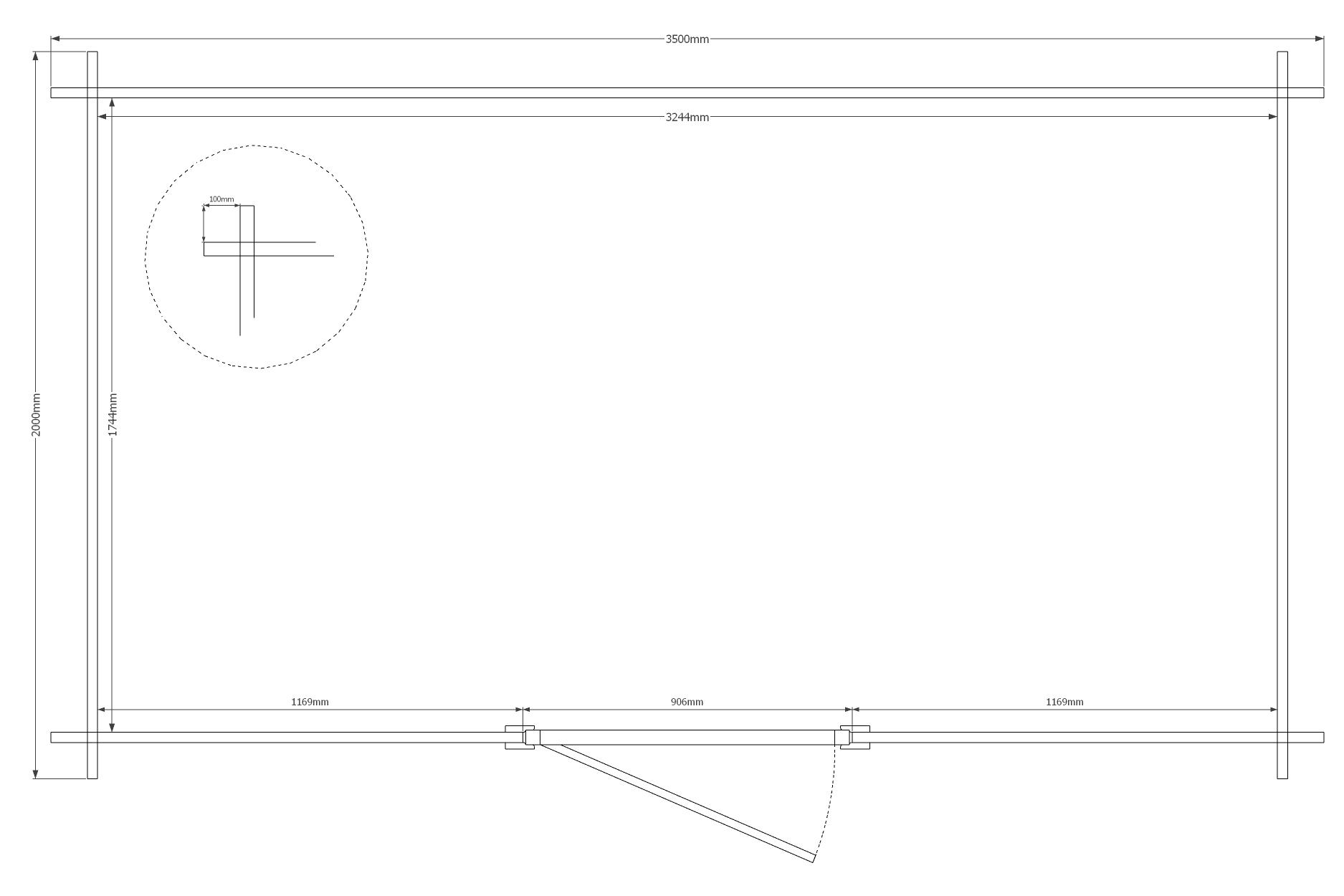 DWF Blokhut zadeldak 350 x 200cm