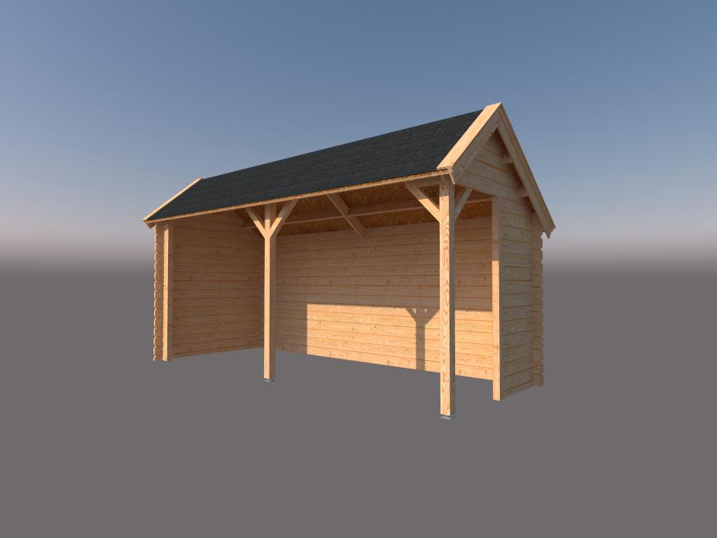 DWF Houten overkapping Kapschuur dak 500 x 200cm