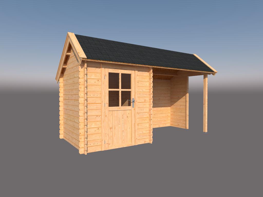 DWF Blokhut met overkapping Kapschuur dak 200 x 200 + 250cm