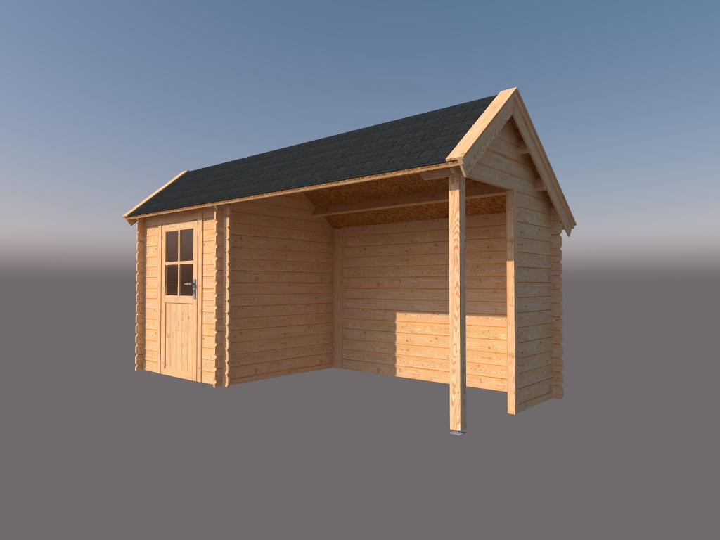 DWF Blokhut met overkapping Kapschuur dak 200 x 200 + 300cm