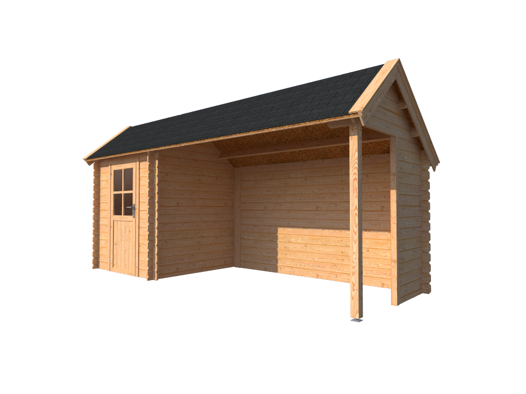 DWF Blokhut met overkapping Kapschuur dak 200 x 200 + 350cm