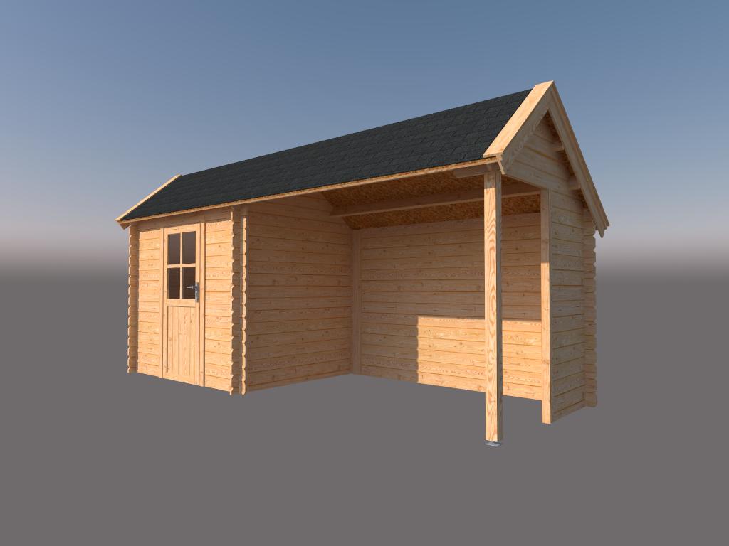 DWF Blokhut met overkapping Kapschuur dak 250 x 200 + 300cm