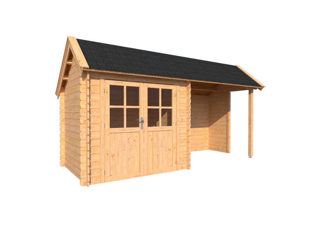 DWF Blokhut met overkapping Kapschuur dak 250 x 200 + 250cm