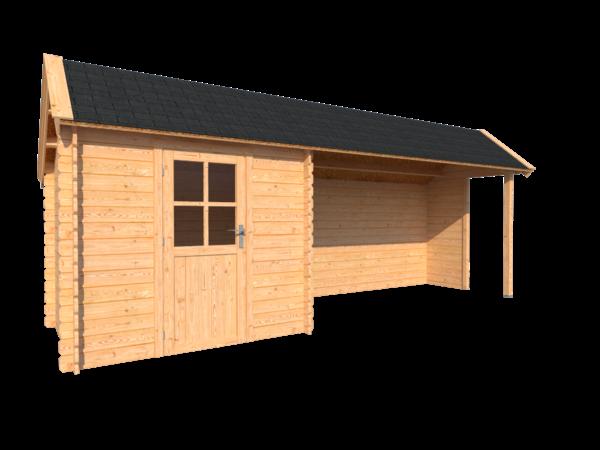 DWF Blokhut met overkapping Kapschuur dak 250 x 200 + 400cm