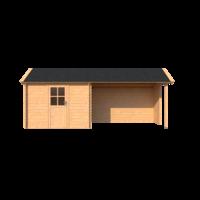 DWF Blokhut met overkapping Kapschuur dak 300 x 200 + 350cm