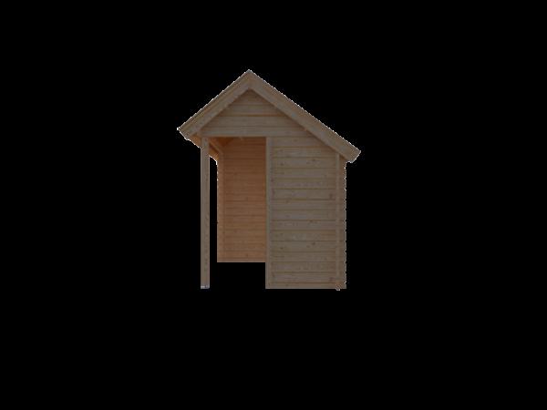 DWF Blokhut met overkapping Kapschuur dak 300 x 200 + 250cm