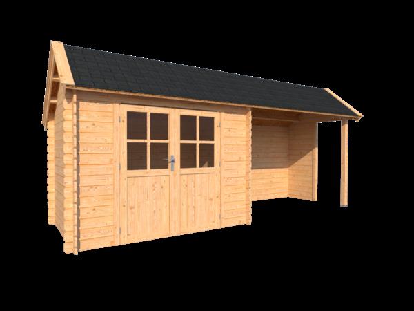 DWF Blokhut met overkapping Kapschuur dak 300 x 200 + 300cm