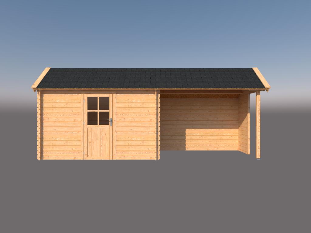 DWF Blokhut met overkapping Kapschuur dak 350 x 200 + 300cm