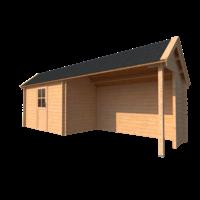 DWF Blokhut met overkapping Kapschuur dak 350 x 200 + 350cm
