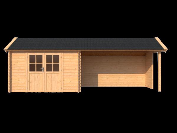 DWF Blokhut met overkapping Kapschuur dak 350 x 200 + 400cm