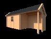 DWF Blokhut met overkapping Kapschuur dak 400 x 200 + 250cm