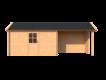 DWF Blokhut met overkapping Kapschuur dak 400 x 200 + 300cm