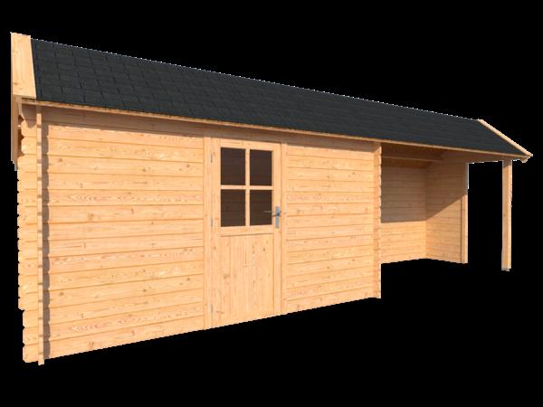 DWF Blokhut met overkapping Kapschuur dak 400 x 200 + 350cm