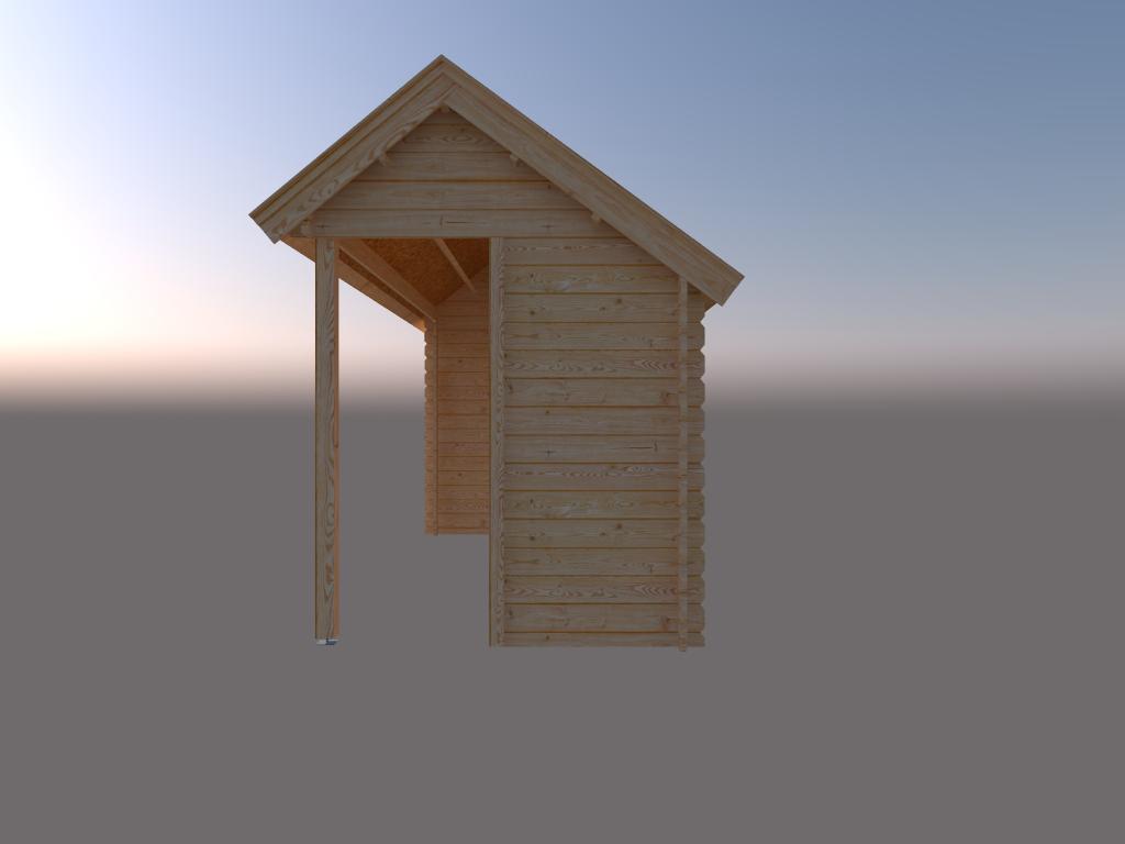 DWF Blokhut met overkapping Kapschuur dak 400 x 200 + 400cm