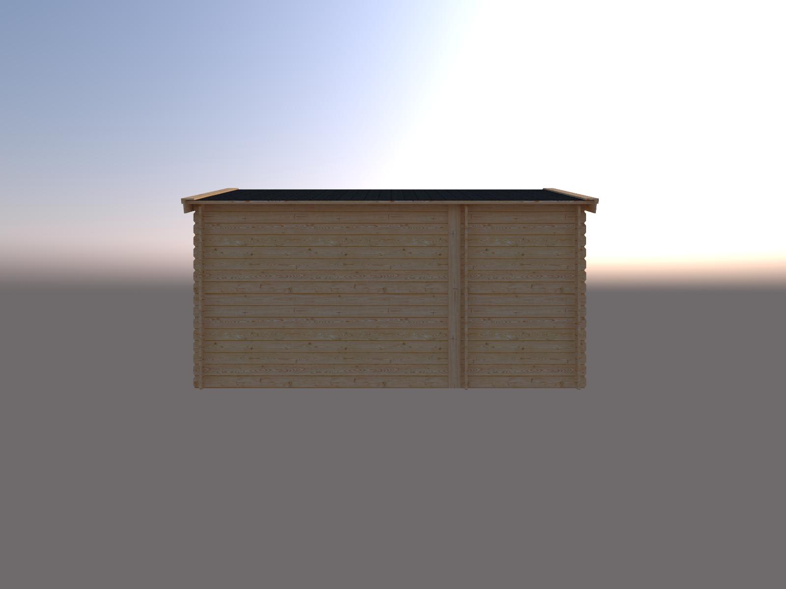 DWF Blokhut met overkapping zadeldak 150 x 300 + 300cm