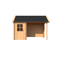 DWF Blokhut met overkapping Kapschuur dak 150 x 250 + 250cm