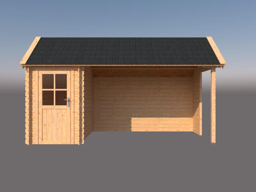 DWF Blokhut met overkapping Kapschuur dak 150 x 250 + 350cm