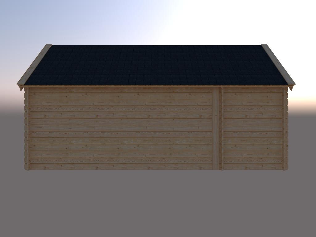 DWF Blokhut met overkapping Kapschuur dak 150 x 250 + 400cm