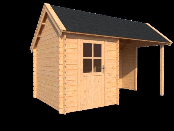 DWF Blokhut met overkapping Kapschuur dak 200 x 250 + 250cm