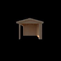 DWF Blokhut met overkapping zadeldak 150 x 300 + 400cm