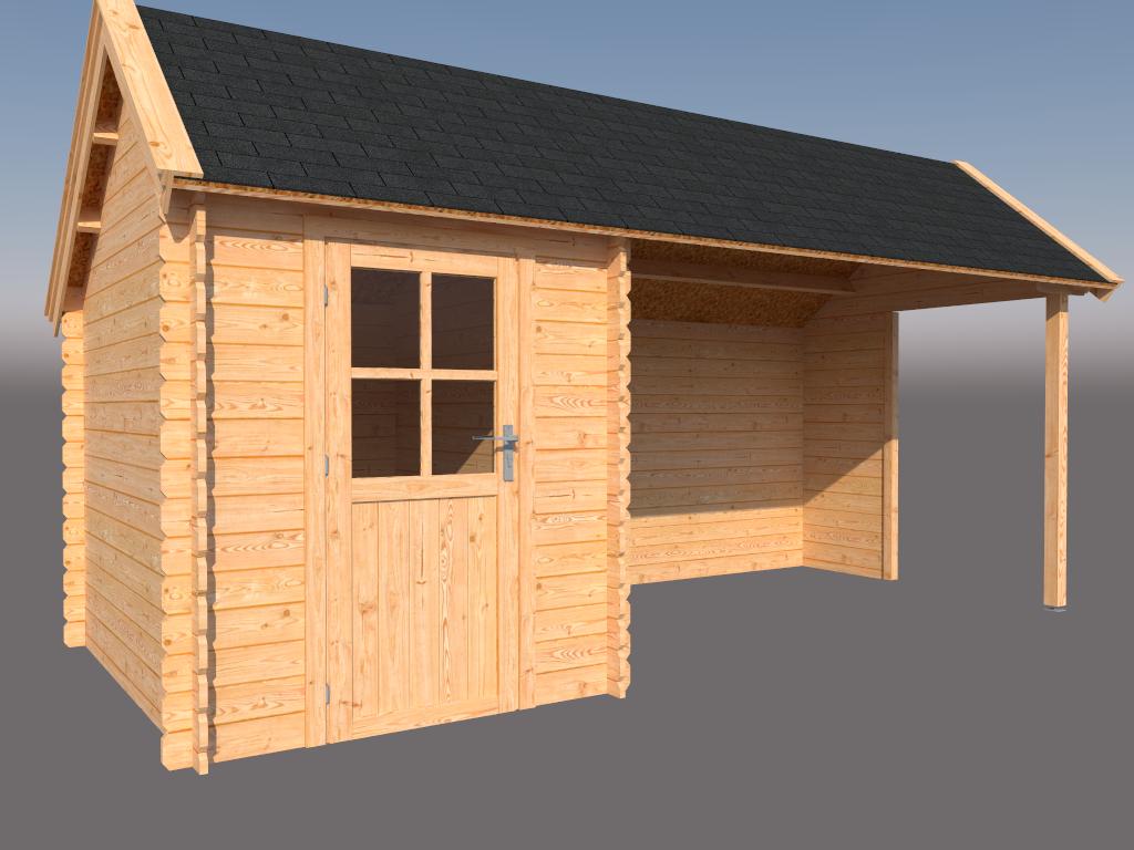DWF Blokhut met overkapping Kapschuur dak 200 x 250 + 350cm