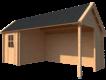 DWF Blokhut met overkapping Kapschuur dak 200 x 250 + 400cm
