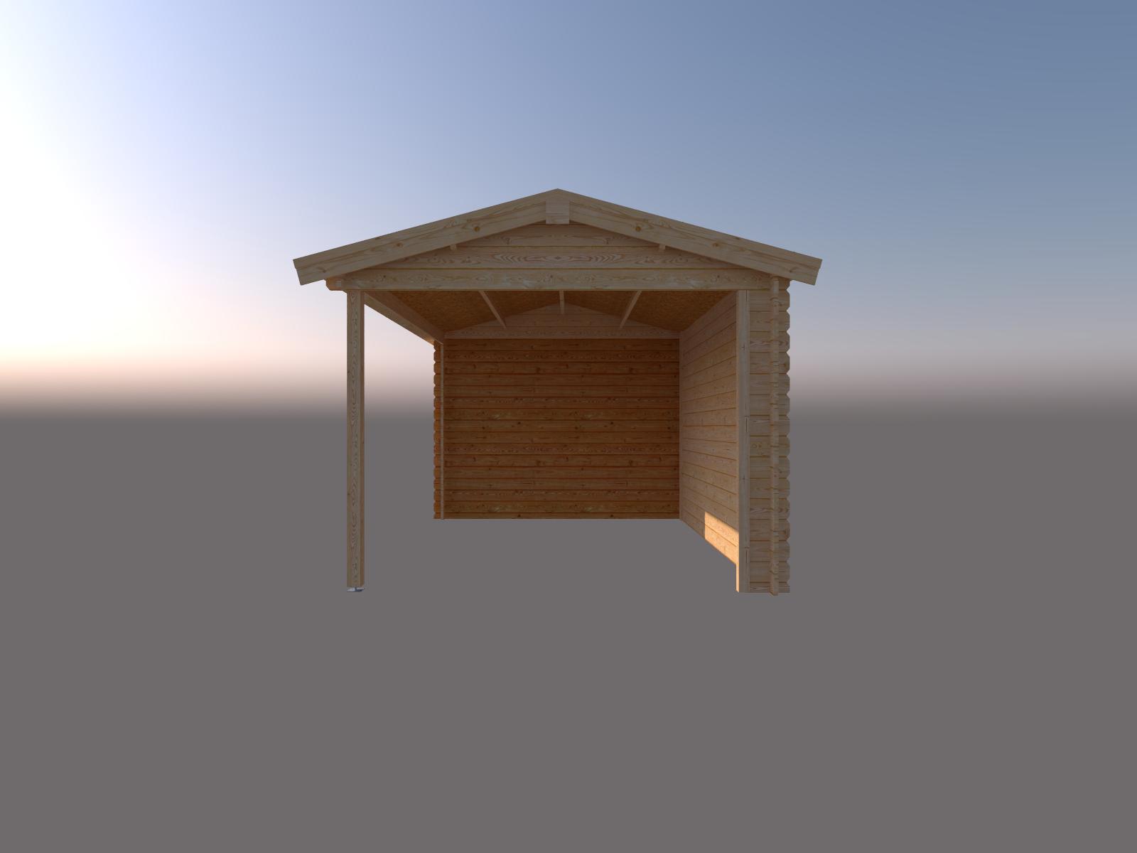 DWF Blokhut met overkapping zadeldak 200 x 300 + 400cm