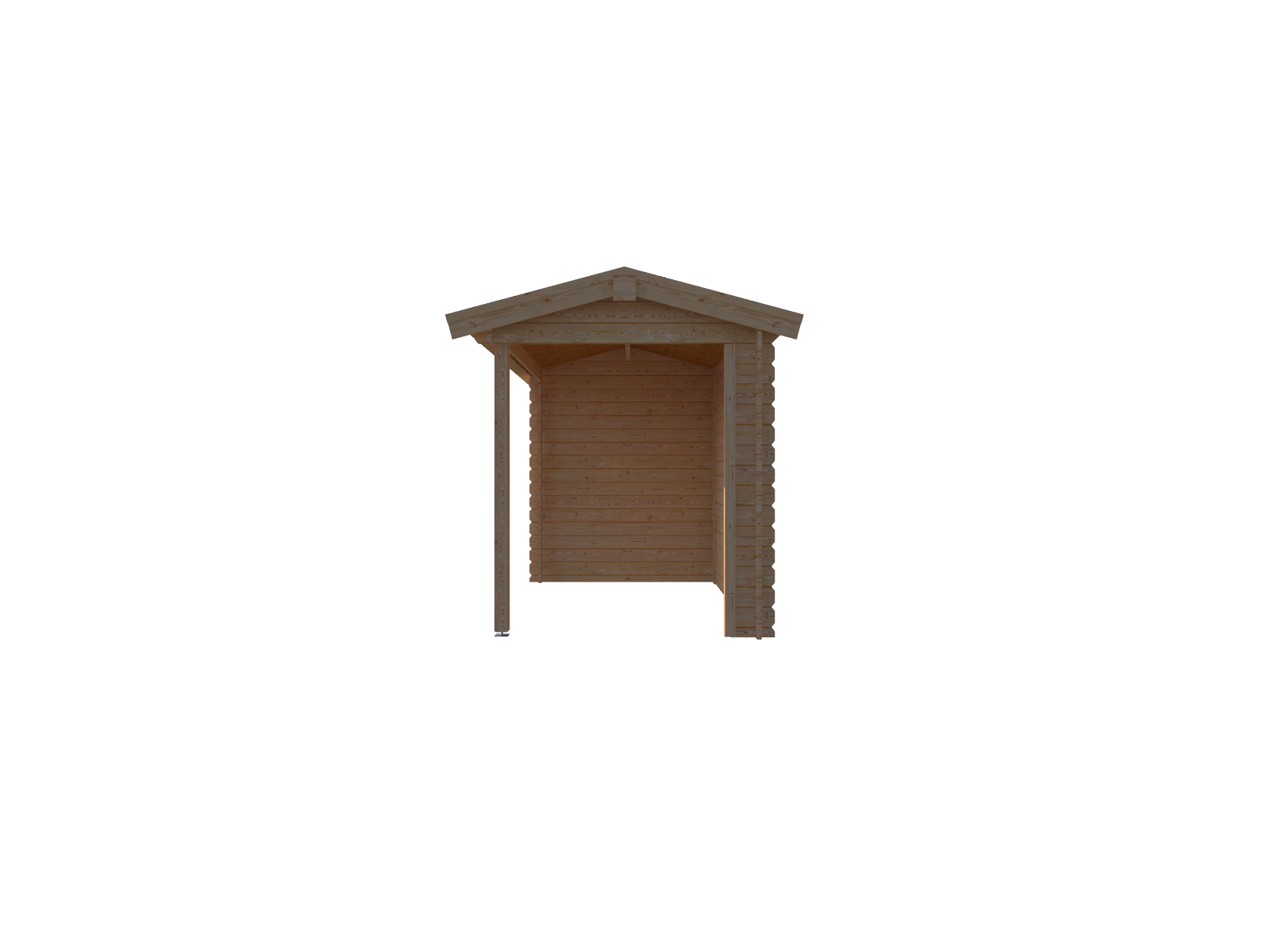 DWF Blokhut met overkapping zadeldak 150 x 200 + 300cm