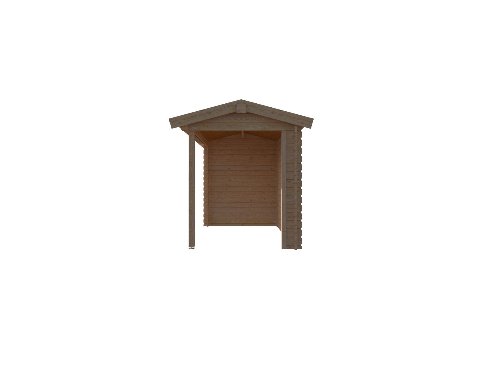 DWF Blokhut met overkapping zadeldak 200 x 200 + 300cm