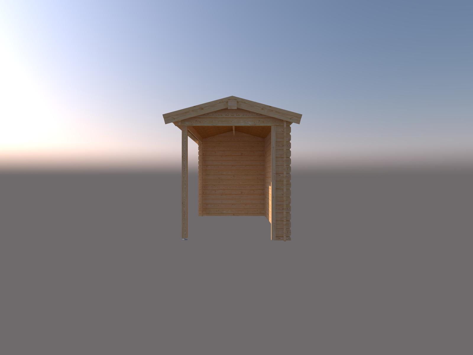 DWF Blokhut met overkapping zadeldak 150 x 200 + 350cm