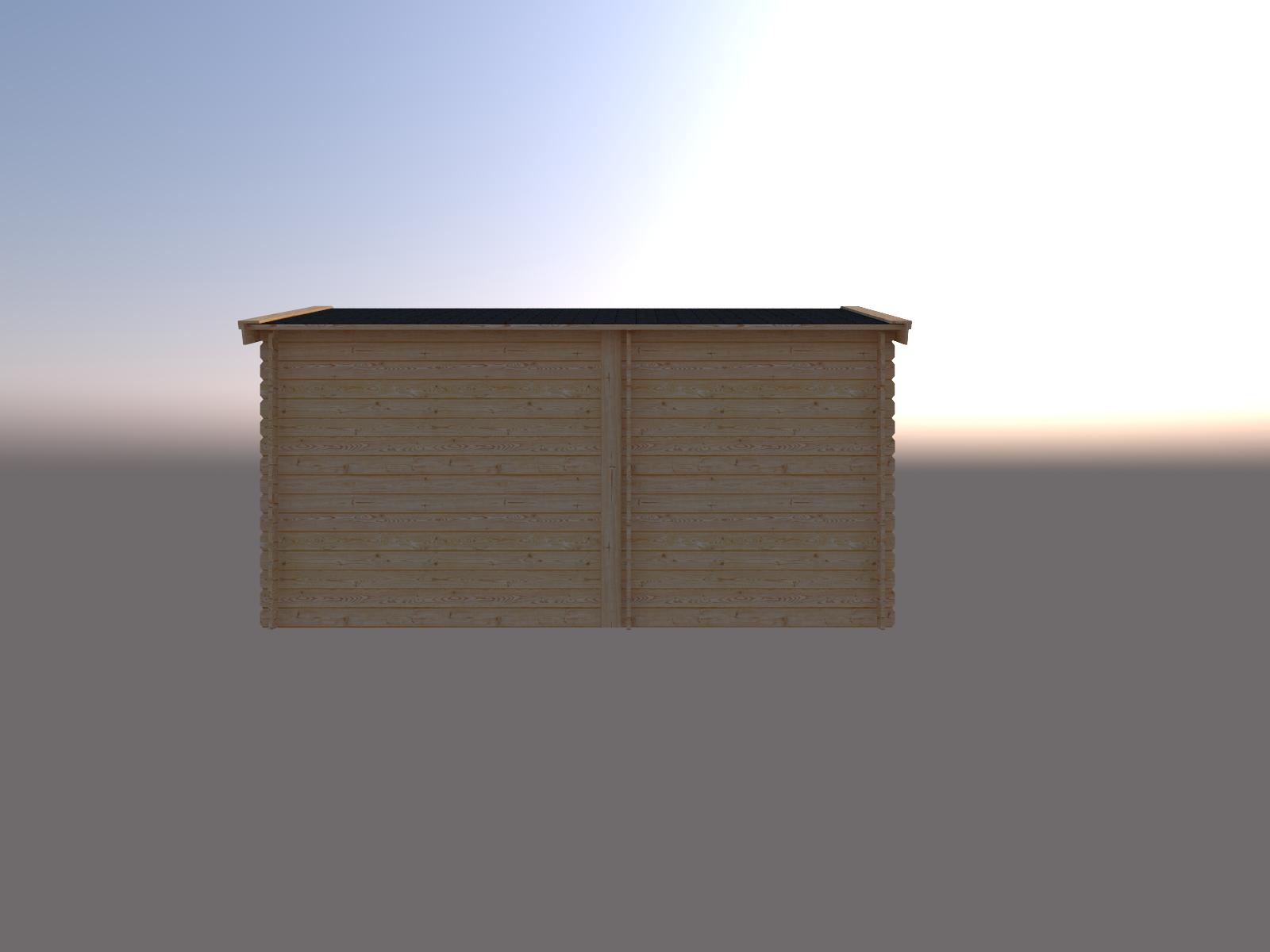 DWF Blokhut met overkapping zadeldak 200 x 250 + 250cm
