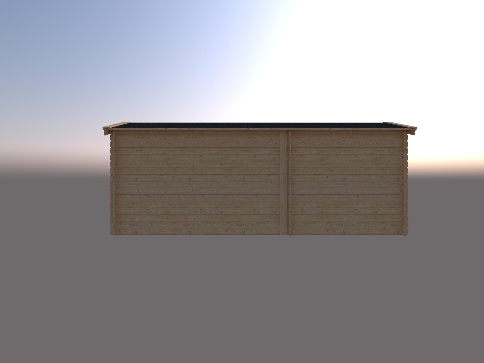 DWF Blokhut met overkapping zadeldak 250 x 200 + 350cm
