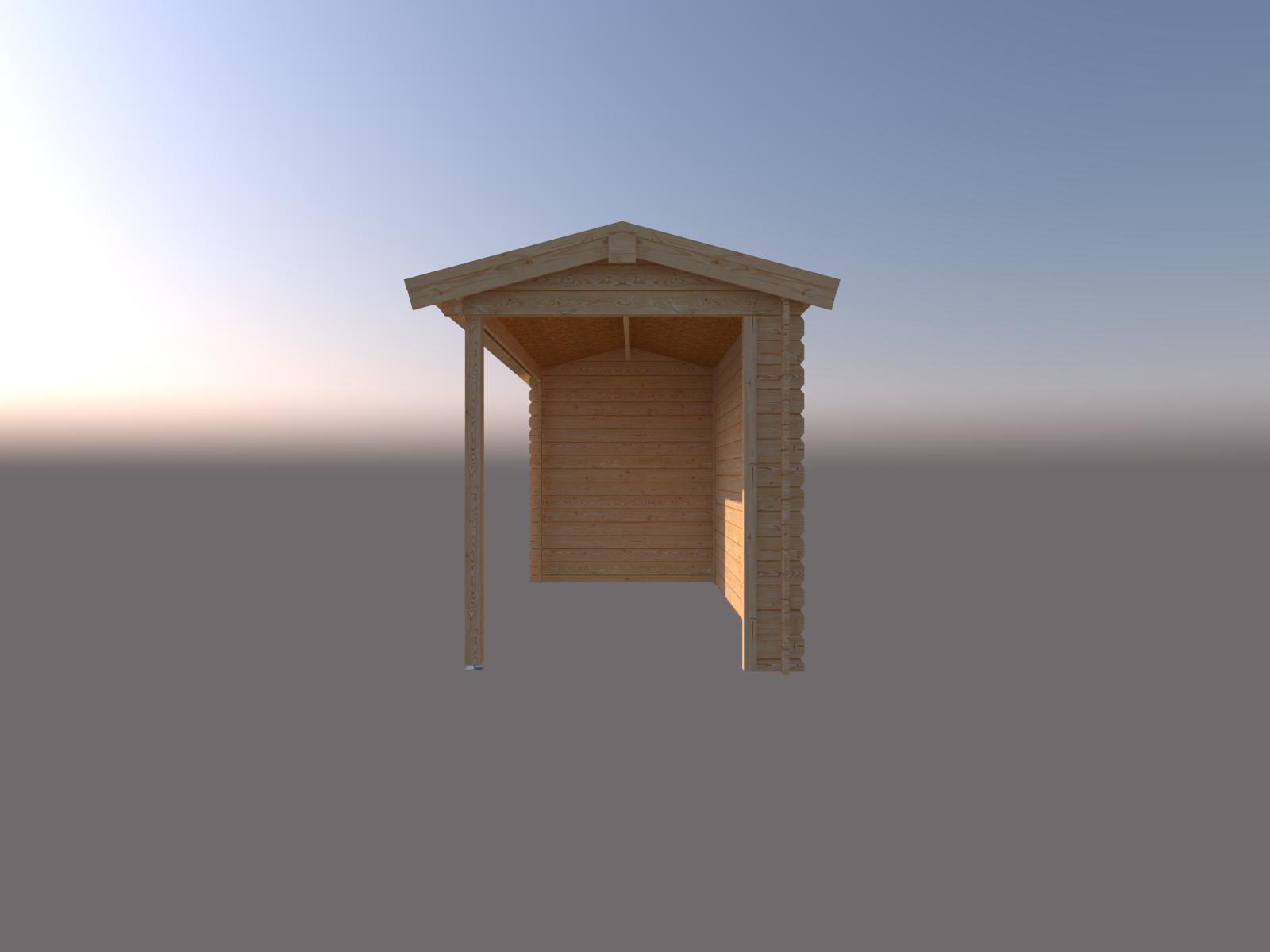 DWF Blokhut met overkapping zadeldak 250 x 200 + 400cm