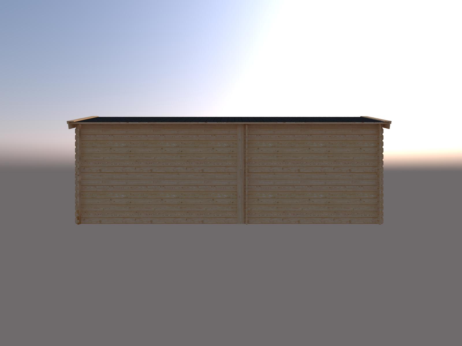 DWF Blokhut met overkapping zadeldak 300 x 200 + 350cm