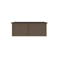 DWF Blokhut met overkapping zadeldak 300 x 250 + 250cm
