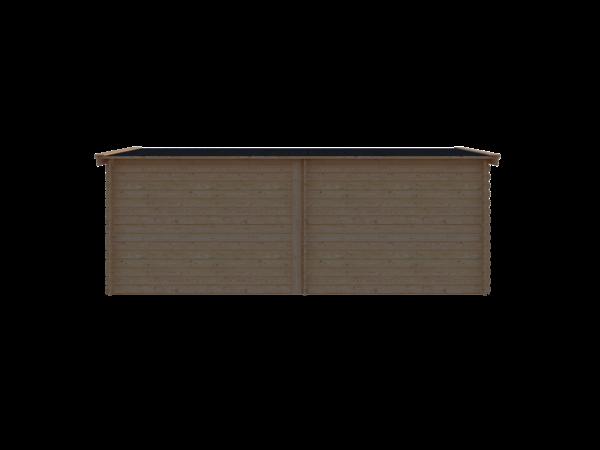 DWF Blokhut met overkapping zadeldak 300 x 250 + 300cm