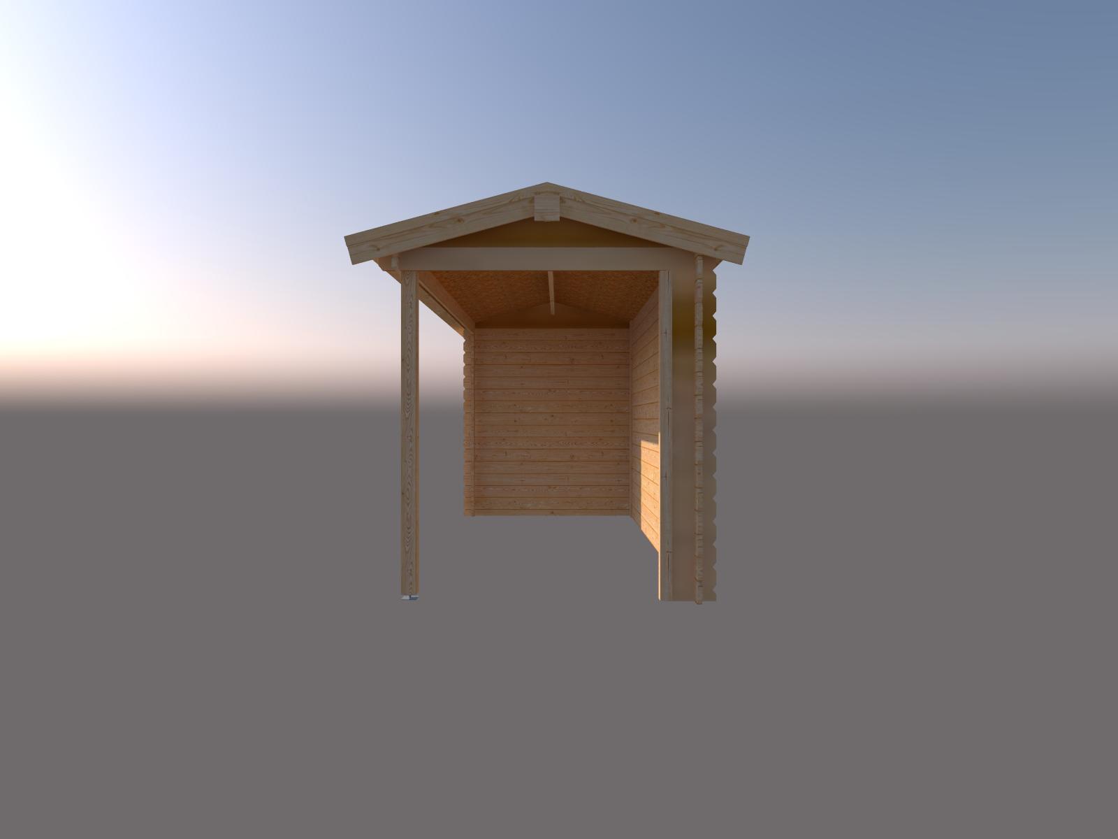 DWF Blokhut met overkapping zadeldak 300 x 200 + 400cm