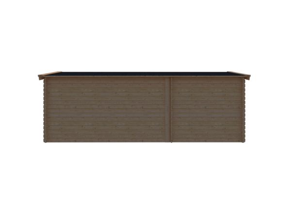 DWF Blokhut met overkapping zadeldak 250 x 250 + 400cm
