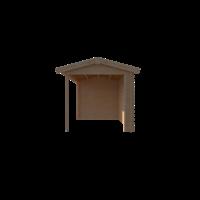 DWF Blokhut met overkapping zadeldak 350 x 250 + 300cm