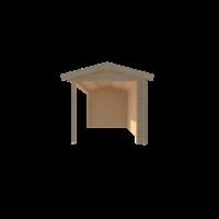 DWF Blokhut met overkapping zadeldak 300 x 250 + 400cm