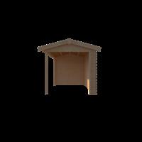 DWF Blokhut met overkapping zadeldak 400 x 250 + 300cm