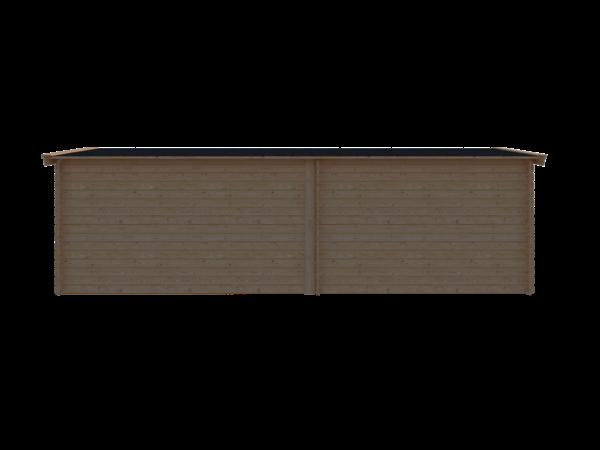 DWF Blokhut met overkapping zadeldak 350 x 250 + 400cm