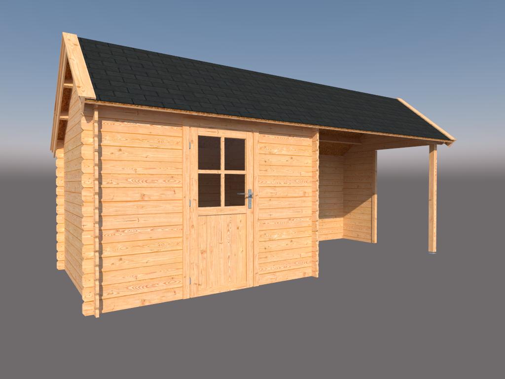 DWF Blokhut met overkapping Kapschuur dak 300 x 250 + 300cm