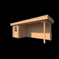DWF Blokhut met overkapping plat dak 200 x 200 + 400cm