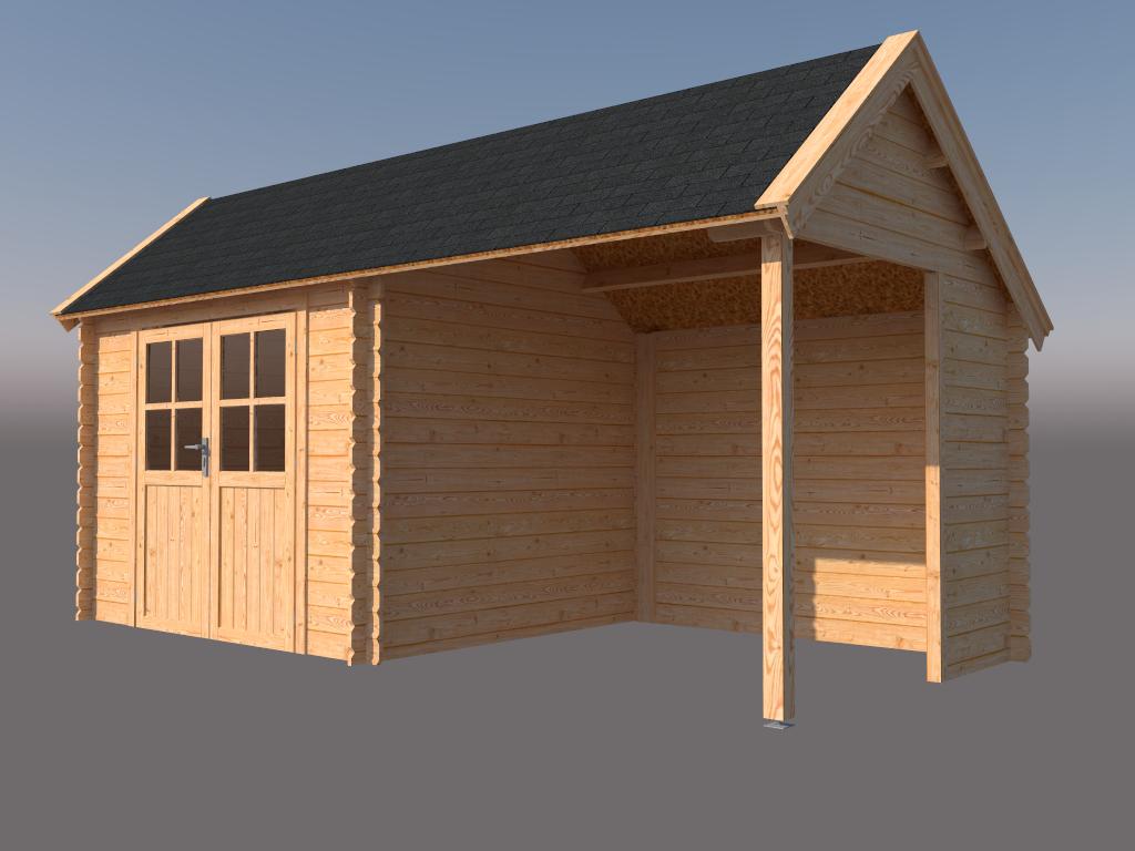 DWF Blokhut met overkapping Kapschuur dak 300 x 250 + 250cm