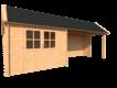 DWF Blokhut met overkapping Kapschuur dak 300 x 250 + 400cm