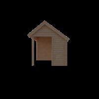 DWF Blokhut met overkapping Kapschuur dak 350 x 250 + 250cm