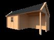 DWF Blokhut met overkapping Kapschuur dak 350 x 250 + 300cm