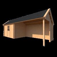 DWF Blokhut met overkapping Kapschuur dak 350 x 250 + 350cm